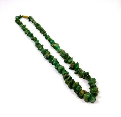 Natural Green Jade Rough Uncut Polished Beads Necklace Jewelry JC9944