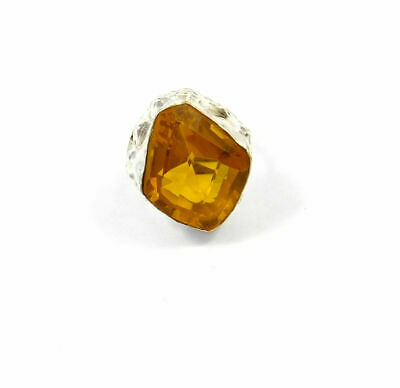 Charming Citrine Quartz Silver Designer Jewelry Ring Size 7.75 JC9080