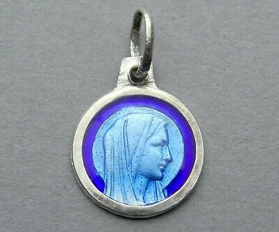Saint Virgin Mary. Antique Religious Silver Pendant. Enamel Medal. French.