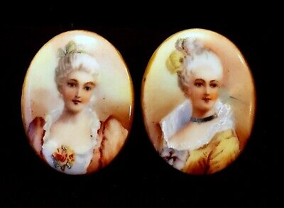 Pair of Antique Porcelain Stud Buttons…Lovely Victorian Ladies