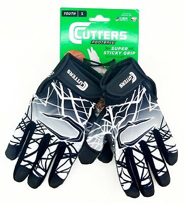Cutters Receiver Football Gloves Youth Small Black Grid Iron Pop Warner Free SH