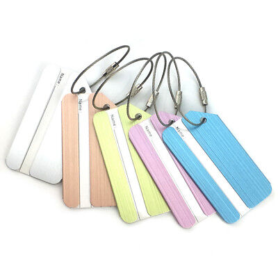 AU_ Aluminium Luggage Tags Suitcase Label Name Address ID Bag Baggage Tag Travel