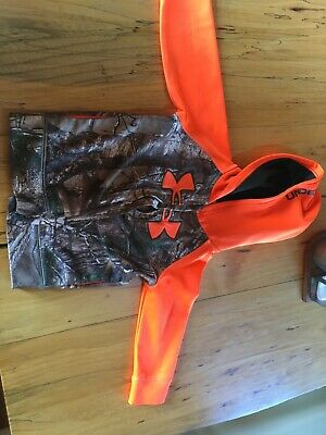 Boys Under Armour Camo and orange zip up hoodie Size 2t