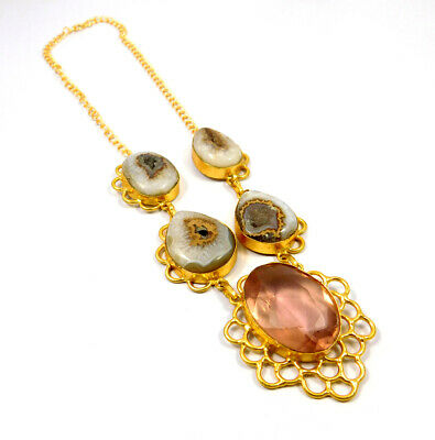 Window Druzy Agate Gold Plated Necklace Fashion Jewelry Festival Gift A1013