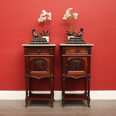 Pair of Bedside Tables Tier to Base Antique French Walnut and Marble Top Lamp