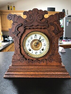 Wood Mantle Clock ( Working ) Mfr Ansonia