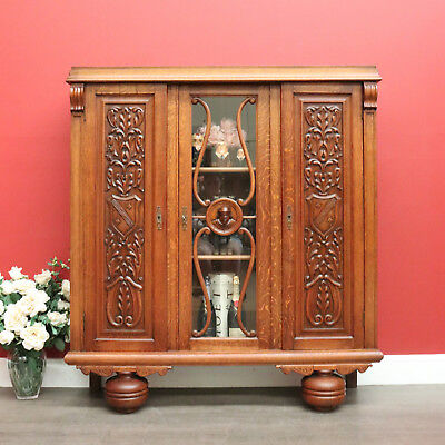 3 Door Antique French Oak China Cabinet Bookcase with Carved Panels and Key