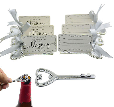 50pcs Multi Function Retro Skeleton Key Bottle Opener Place Card Holder Wedding