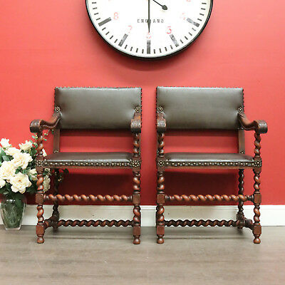 Pair of Antique French Oak Leather Barley Twist Armchairs or Carvers Hall Seats