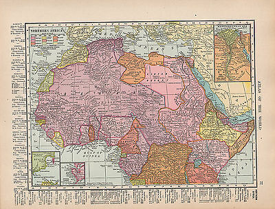 1909 Map ~ Northern Africa Showing Possessions Sierra Leone Nile Delta Cairo