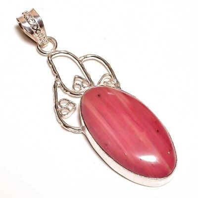 Pink Calcite Stone Pendant .925 Silver Plated Fashion Gift J11-J213