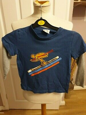 Little Boys Designer Boden Long Sleeved T Shirt Uk 3-4 Years Rrp £24.50