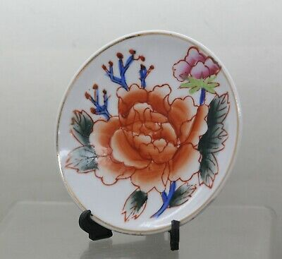 Beautiful Hand Painted Chinese Porcelain Peony Pin Dish Circa 1970s With Stand