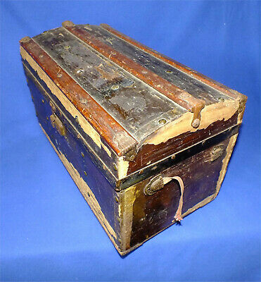 Small Victorian Camel Back Trunk Patent Date 1881 Made in USA