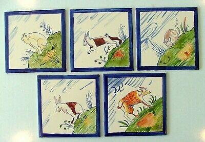 5 naive painted ceramic tiles animals hand painted British