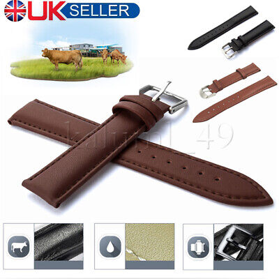 Genuine Leather Watch Strap Band Brushed Buckle 18 20 22mm 24mm Men's Women's UK