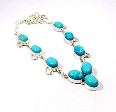 Heated Larimar Stone Necklace New Silver Plated Fashion Jewelry Gift JC9162