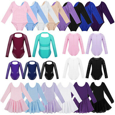 Girls Ballet Dance Dress Kids Gymnastics Long Sleeve Leotard Jumpsuit Dancewear