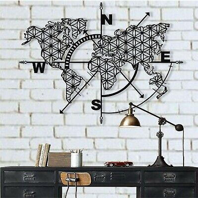Large Metal World Map Continents Metal Wall Art Office