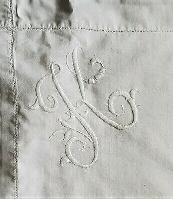 Pair Antique Vintage Monogrammed 'K' Hand Embroidered White Cotton Pillowcases