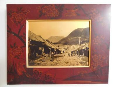 Japan Gold Metallic Tamamura Kozaburo Photograph in Lacquered Frame 1900s