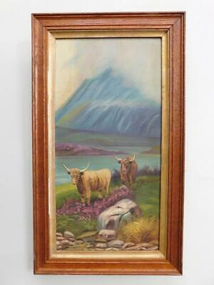 Edwardian Original Oil Painting Scottish Highland Cattle 1900s in Hardwood Frame