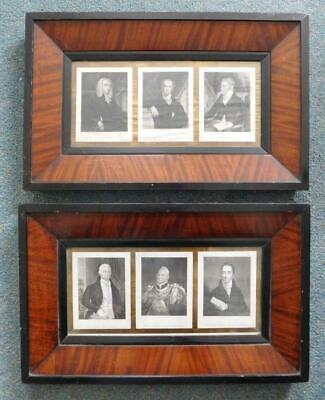2x Trio Mounted Portrait Prints in Exceptional Victorian Frames
