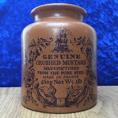 Vintage 1930s Genuine Crushed Mustard, Advertising Stoneware Pot, Made in France