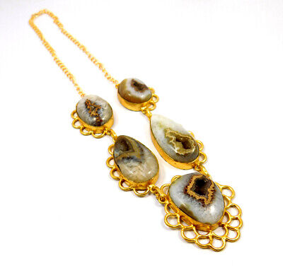 Window Druzy Agate Gold Plated Necklace Fashion Jewelry Festival Gift A1020