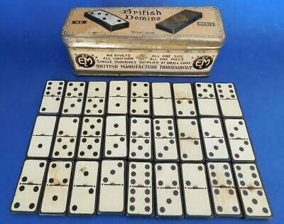 Scarce early 1900s English Rivet free Domino Set in Litho print Tin 1900s
