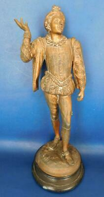 Victorian Ormolu metal Statue of Elizabethan Courtesan Page Shakespeare era