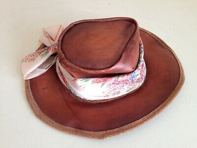 Mad Hatter Cowgirl hat SMALL 53 cm KANGAROO SKIN LEATHER -Australian Made-BROWN