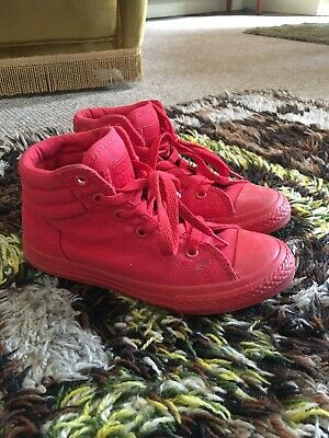 Gorgeous Bright Red Converse Girls Uk 13.5 Excellent Look!