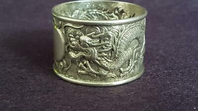 Terrific Late 19th Cent Chinese Export Sterling Silver Dragon Motif Napkin Ring
