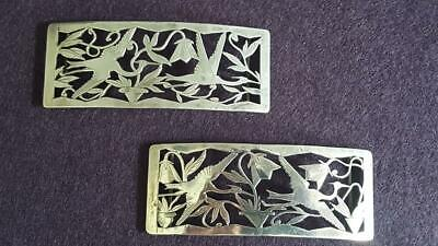 Superb Pair Antique Art Nouveau 1900s Chinese Silver Belt Buckles 38g