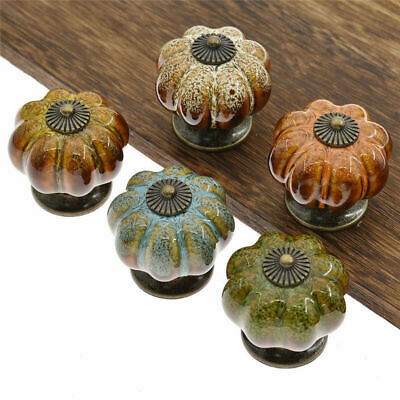Ceramic Pumpkin Pull Handle Leopard Drawer Cabinet Knob Handle Home Decor 1pc
