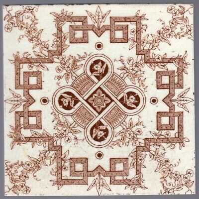 J W Wade & Co - c1891 - Brown Floral Geometric Design - Antique Aesthetic Tile