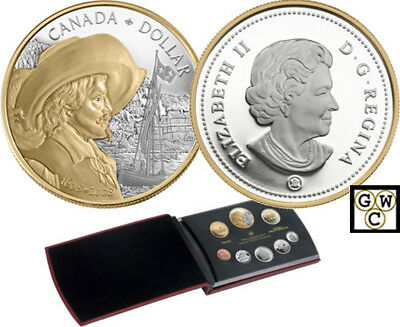 2008 Proof D$ Set (with Special Gold-Plated Quebec City Silver $) (12248)