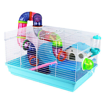 Pet Ting Sage Hamster Cage With Tubes and accessories Mouse Wheel Drinker Blue