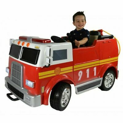 12v Ride On Deluxe Fire Engine Truck Toy Car Rubber Wheels & Leather Seats