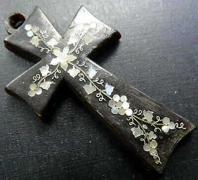antique Victorian black horn inlaid mother of pearl flower cross pendant -R340