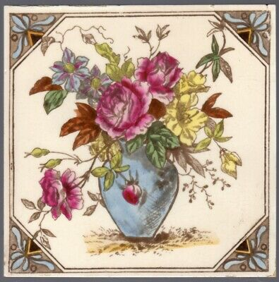T & R Boote - c1890 - Colorful Flowers In Blue Vase - Antique Victorian Tile