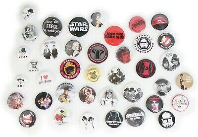 Movies & Movie Stars Buttons Pins Badges 40+ DESIGNS Mix & Match Gifts