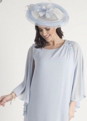 Chesca Pale Ice Baby Blue Wedding Ascot Disc Hatinator  Hat Mother Of The Bride