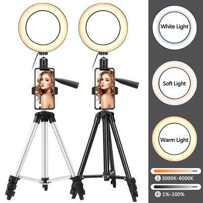 """6"""" Ring Light Tripod Stand Selfie LED Camera Light With Cell Phone Holder Lamp"""