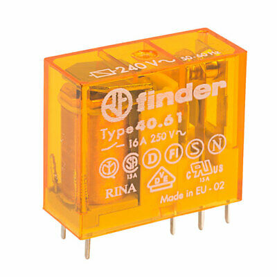 Finder 40.61.9.024.0300 SPST-NO 16A Miniature PCB//Plug-in Relay AgCdO Contact 24V DC Coil