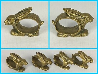 Set of 4 Solid Brass Metal BUNNY RABBIT Napkin Ring Holders Dining Kitchen Decor