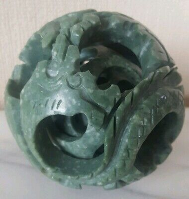 Chinese Green Jade Carved Flower/Dragon, Good Luck, Puzzle, 4 Ball, 9 cm **VGC**