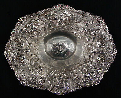 Antique Sterling Silver Steiff Repousse Rose Pattern Shallow Bowl