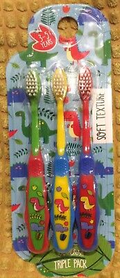 Bnip 3 X Blue Green Red Dinosaur Soft Toothbrush Kids Girl Boy 3-5Y Gift Cute